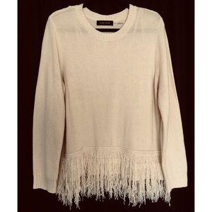 Ivanka Trump Cream Fringe Hemline Sweater